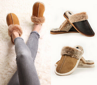 Luxury Mens and Womens Genuine Sheepskin Mule Slippers, 100% Real Fur ALL SIZES