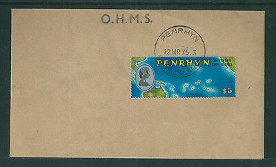 Penrhyn 1975 $5 Satellite view of Australasia on plain OHMS first day cover.