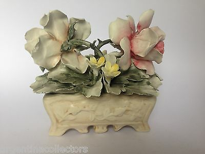 Antique Nuova CAPODIMONTI Porcelain Italy. Floral Rose Figurine hand painted