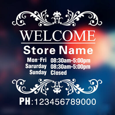 Custom Vinyl Lettering TRADING HOURS STORE NAME stickers decals Wall shop sign