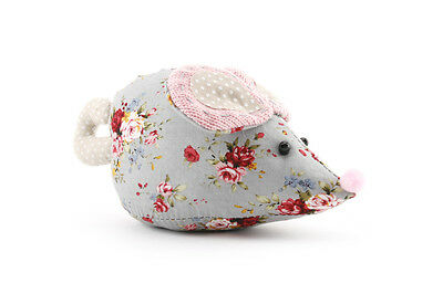 Large Patchwork Mouse Pin Cushion - Ditsy Grey Floral - Vintage Style - Sew Gift