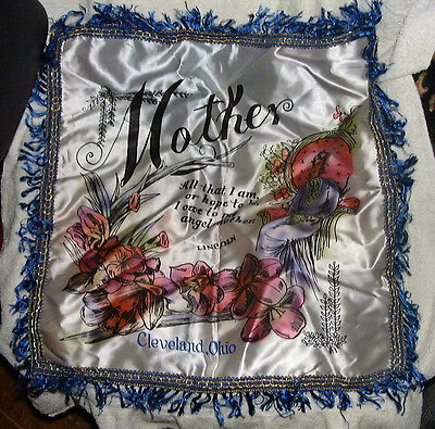 BEAUTIFUL VINTAGE 1940's/50's CLEVELAND OHIO >MOTHER SWEET HEART PILLOW CASE  !