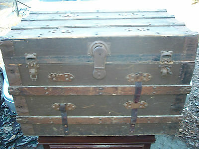 ANTIQUE VINTAGE TRUNK WOOD BRASS STORAGE TRAVEL CHEST LARGE FLAT TOP