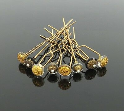 1800's Natural Seed Pearls Onyx & Crystal Decorated 14K Gold Set of 8 Hair Pins