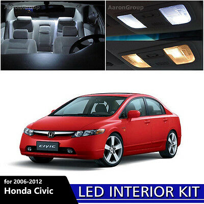 6PCS White Interior LED Light Package Kit for 2006 - 2012 Honda Civic