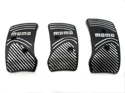Momo Style Black Aluminium Non Slip Sport Pedal Brake Pad Covers Manual Car 3 PC