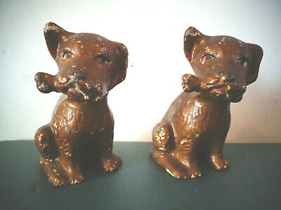 Antique Pair Solid Cast Iron Dog W/bone Bookends Door Stop Paperweight