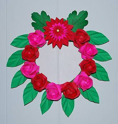 Holiday floral Wreath Origami Rose flowers wall decor Wedding gift Handmade