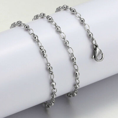 316L Stainless Steel Fashion Silver Women Long Chain Necklace Jewelry 17-30 inch