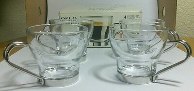 Italian Glass Coffee Maker : 4 VITROSAX CHROME & FROSTED GLASS ESPRESSO CUPS MUGS MADE IN ITALY