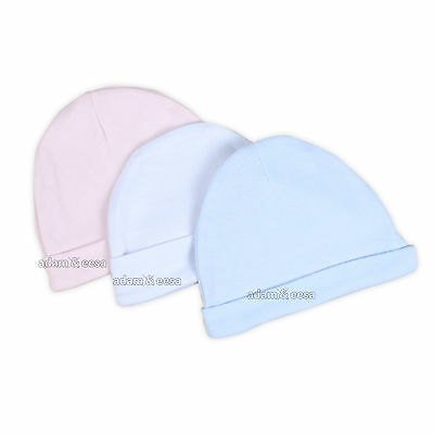 Baby Newborn 100% Cotton Hats Pink Blue and Cream and Mittens