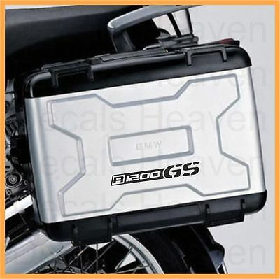 BMW R1200GS LOGO 2pcs Black Reflective Pannier Decal Kit Set Safety Sticker M#2