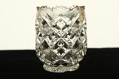 HEISEY GLASS CRYSTAL PILLOWS GOLD DECORATED TOOTHPICK HOLDER EAPG