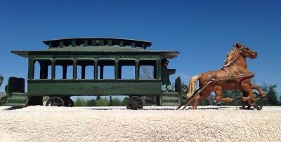 Cast Iron Broadway Line 1920's Trolley Car and Horse.  Hand Painted by Am  NIB