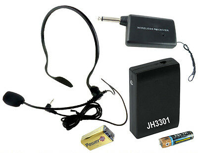 VHF Stage Wireless Headset Microphone System Mic FM Transmitter Receiver