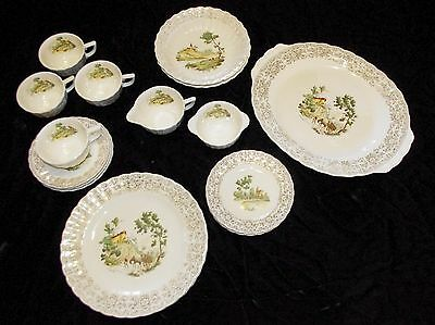 AMERICAN LIMOGES 22KT CHATEAU-FRANCE 1k-S518 Set of Vintage China - 21 pieces