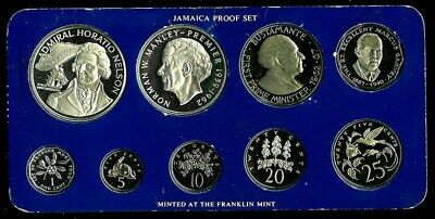 1976 Silver Coinage Of Jamaica 9 Coin Proof Collector Set