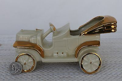 Figural Pottery Old Time White Car Planter With Gold Trim