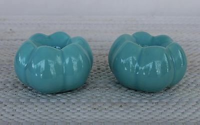 Vintage Pottery Turquoise Blue Candlestick Candle Holders