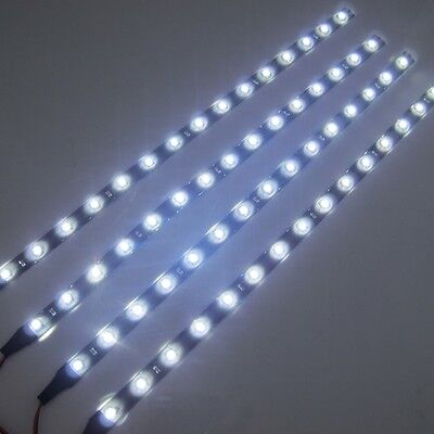 4x 30cm/15LED SMD 3528 White Flexible Led Strip Light Waterproof DC 12V Car Auto