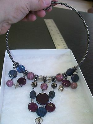Jewel Tone Beaded Choker Length Collar Necklace/ New in Box/ No Tags