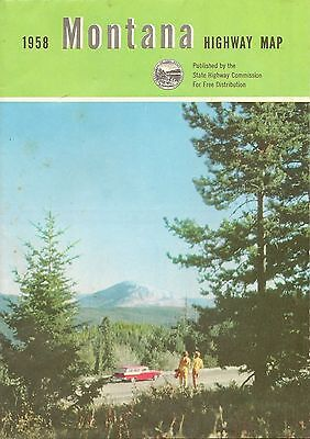 1958 MONTANA Official State Highway Road Map Helena MacDonald Pass