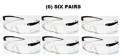 (6) Six Pairs Of Crews Desperado Safety Shooting Glasses Black/clear New!