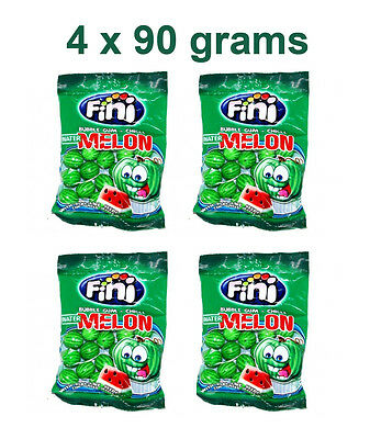 4 x FINI Watermelon Shaped Bubble Gum with Fizzy Seeds 90g 3.2oz