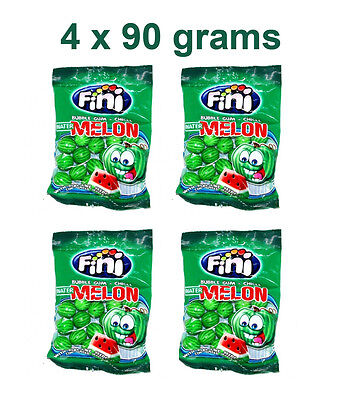 4 x FINI Watermelon Shaped Bubble Gum with Real Like Seeds 4 x 90g 3.2oz