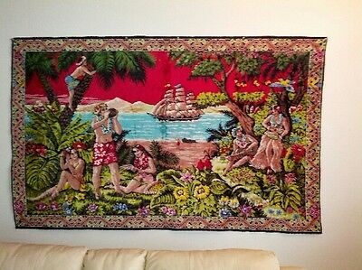 Extra Large Vintage Rare Hawaiian Heirloom Tapestry