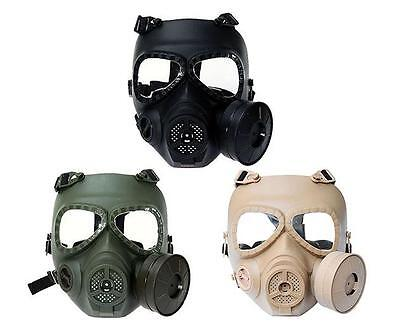 Outdoor Bicycle Riding Motorcycle CS Black Full Face Protective Mask 2 Holes