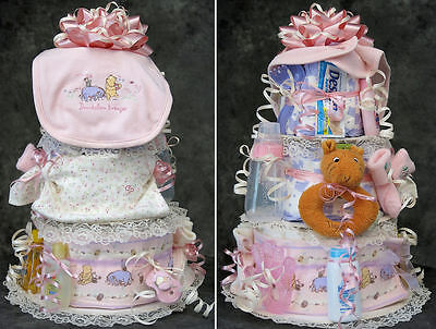 Classic Pooh BABY DIAPER CAKE bib outfit pacifier blanket rattle Tigger Eeyore