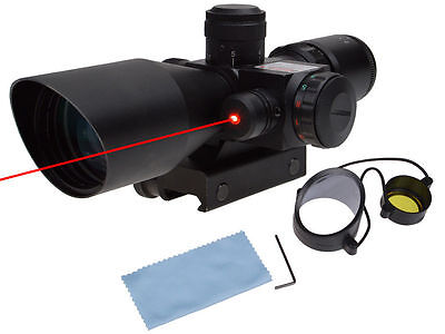 Red Green Rifle Scope 2.5-10x40 Tactical Mil-dot illuminated w/ Red Laser Mount
