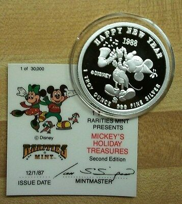 Mickey and Minnie 1987 Holiday - Proof Silver Coin