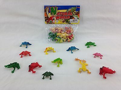 """Frog Figure Toy Playset Plastic 1""""-2"""" Cake Topper Party Favor 12 Piece"""