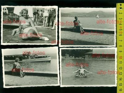 4 Fotos Attersee 1959 - sexy Dame