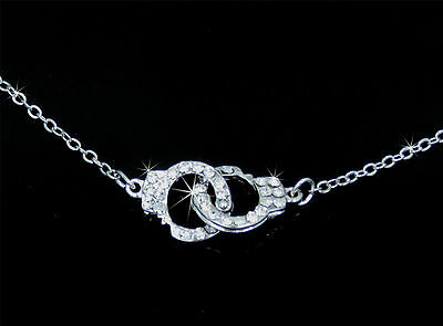 New Stunning Silver Tone Handcuff Crystal Pendant Necklace  Gift Boxed