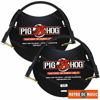 2 PIG HOG 1ft Patch Cable 1/4 Right Angle Instrument Guitar Cord Pedal PigHog
