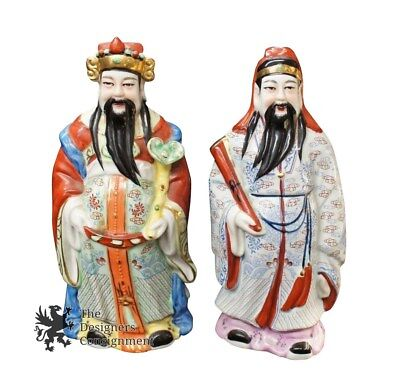 Pair Of 2 Vintage Antique Asian Chinese Porcelain Immortal Gods Men Figurines