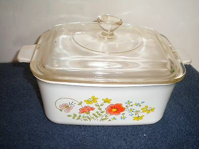 CORNING WARE CORELLE WILDFLOWER MEAT LOAF PAN DISH WITH LID  P 4 B