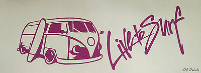 Live to Surf VW Camper Sticker / Decal 21cm Many Colours T1 T2 T3 T4 T5 Skate