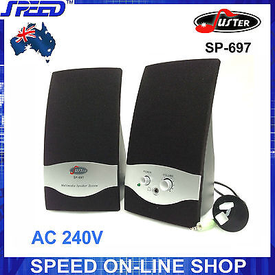 Juster SP-697 2.0 CH Speakers (240V Power) for Desktop PC, MP3, iPad, iPhone...