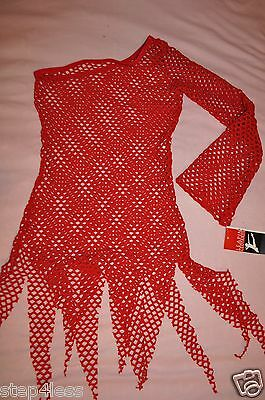 Nwt Adult size medium Red Netting cover up dance Off shoulder dress item-- #73