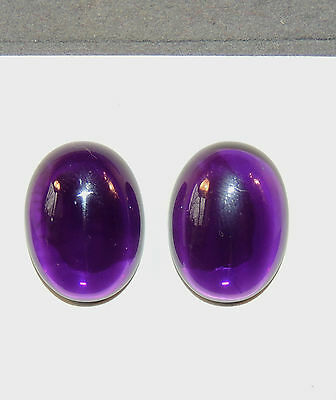 Amethyst Cabochons pair of 15x20mm Oval from Brazil 6.5-7mm thick  (6841)