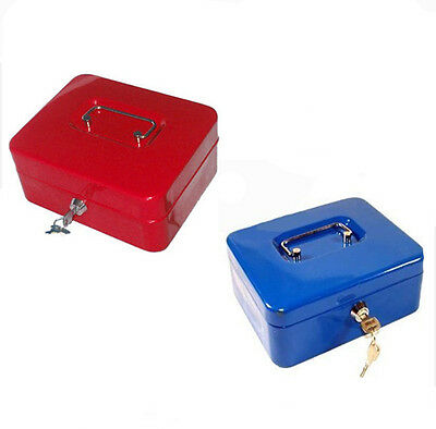 "8"" Steel Safe Money Box Home Metal Case Cash Petty Deposit Tin"