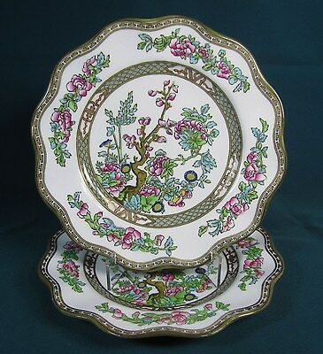 Two Coalport Indian Tree Luncheon Plates with Green Mark