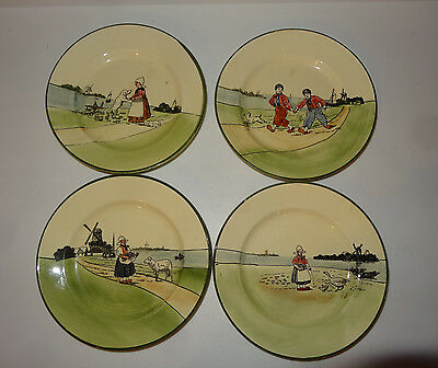 VTG 4 Saucers Dessert Plates Baden G S Zell Germany Mary's Lamb Windmill Dog