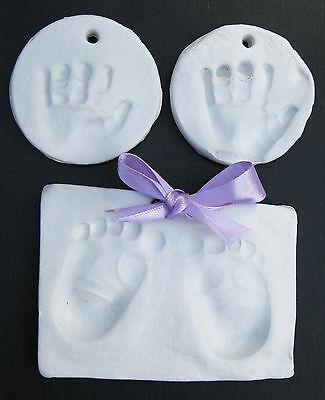 Soft White baby clay dough for handprint, imprint kit boy,girl,choice of ribbon
