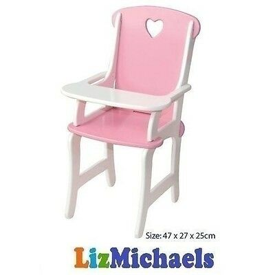 FUN FACTORY WOODEN PINK BABY DOLL FEEDING HIGH CHAIR Pretend Play Toy Parent Dol