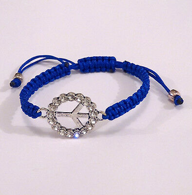 Bracelet Shamballa Peace And Love Strass Macrame Bleu
